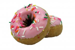 TS Pink Iced Birthday Cake Flavored Cake Donut